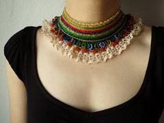 beaded crochet collar necklace with red, golden yellow, blue and chartreuse green seed beads and crocheted lace - old world - regal by irregularexpressions (irregular expressions) Tags: pink orange thread yellow beads crochet cream indigo creme cotton button wearableart fiberart fiber fibers brightred textileart seedbeads flamered goldenyellow beadednecklace grassgreen royalblue beadcrochet freeformcrochet ceruleanblue delicabeads crochetnecklace beadedcrochet crochetart cottonthread cardinalred lacenecklace cottonfiber beadedlace irregularexpressions chartreusegreen statementnecklace statementjewelry freeformcrochetnecklace chartreuseyellow beadedcrochetnecklace jewelrynecklacebeadedbeadednecklacestatementnecklacecrochetnecklacecollarnecklacecrochetlacecreamlacegoldenyellowroyalbluechartreusegreencardinalredlacenecklacechokernecklac crochetedcreamlace