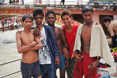 five (alfieianni.com) Tags: friends boy shirtless india boys swimming river indian young teens bathing ganges haridwar