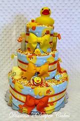 Rubber Ducks Baby Diaper Cake (Dianna's Diaper Cakes) Tags: girls baby cakes boys shower diaper gift newborn centerpiece gender neutral