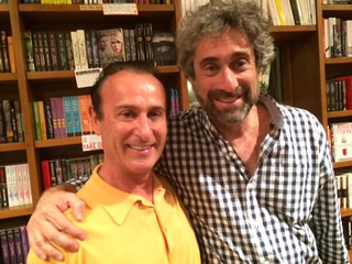 Cafe Abbracci owner Nino Pernetti with Books and Books founder Mitch Kaplan at Michael Fernandez's book signing