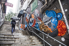 Colorful Graffiti in Soho, Hong Kong (Ben Heine) Tags: china street stairs composition umbrella photography hongkong graffiti colorful grafiti soho citylife tags ville urbanscene umbrellarevolution