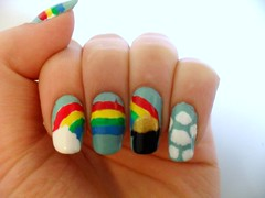 St. Patrick's Day Pot of Gold Rainbow Nail Art 4 (rachel.puleo) Tags: blue ireland red sky irish white black green yellow clouds gold march rainbow neon pots luck nailpolish stpatricksday nailart potofgold