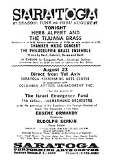 spac 67 lineup (albany group archive) Tags: ny philadelphia saratoga performing arts center eugene orchestra 1967 albany tijuana rudolph brass ensemble herb spac alpert serkin ormandy