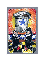 dedication (Josh Torin) Tags: coffee watercolor miniatures coffeecup commute devotion mta commuting rushhour dailylife caffeine daydream reverie dayjob miniaturepainting earlymodern officejob pocketart prayingfigures narrativeart europeandress metrocardminiatures diurnallife medivaliconography metrocardpaintings
