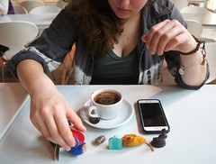 her lucky charms (kendradrischler) Tags: paris kristin coffee cafécoutume luckycharms phone bracelets