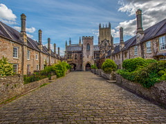 Vicars' Close, Wells, Somerset, England (Wizard CG) Tags: vicars close wells somerset england uk cobbles street lamp chimney terrace house sky outdoor road architecture city epl7 ngc world trekker micro four thirds 43 m43 olympus mzuiko digital ed tourist attraction