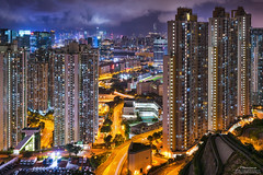 Choi Ying Estate (mikemikecat) Tags:   pingshan kowloon hongkong nightscapes estates a7r nostalgia house mikemikecat architecture sony stacked building colorful housing pattern        block hong kong cityscapes street nightview night    evening  twilight vintage rooftop  kowloonbay  carlzeiss nightscape   sel1635z fe1635mm   choiyingestate