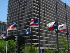For Dallas... (Robb Wilson) Tags: downtownla losangeles grandpark flags dallasshootings flagsathalfmast deaths freephotos