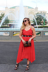 Lulu's Red Mini Dress ASOS Double Buckle Western Belt Black Strappy Sandals Summer Edgy Style Playland Rye Westchester New York Living After Midnite Jackie Giardina Blogger (jackiegiardina) Tags: american asos blonde buckle cateye dress fashion golden jackiegiardina leopard livingaftermidnight livingaftermidnite lulus outfit red sandals style summer