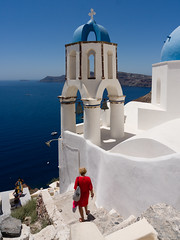 A Day (Jaf-Photo) Tags: santorini sea blue white church seascape landscape red sky greece mediterranean cyclades cross islands holiday vacation travel sony a77ii ilca772 sigma 1224mm