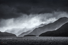 Doubtful Sound (Bill Thoo) Tags: doubtfulsound newzealand landscape seascape storm fjord southisland fjordland nationalpark wilderness blackandwhite monochrome moody atmosphere sony a900 alpha900 2470mm