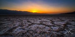 Cracked Earth (Mike Ver Sprill - Milky Way Mike) Tags: badwater basin sunset sun glow burst death valley califorinia cali national park beautiful salt flats below sea level very hot 120 degrees cracked earth landscape travel road trip explore 2016 june michael ver sprill mike versprill mv milky way nikon d800 1424 wide angle hdr high dynamic range tone mapped lightroom cool surreal serene centered unique outdoor coast shore seaside ocean water beach sky