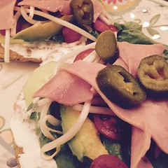 Tostadas (camarena_villafuerte) Tags: food modestoca modesto jalapeos jamon tostadas