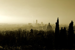 Brescia 2013 (frederik89) Tags: brescia brexia castello landscape nature view nebbia fog clouds nuvole seppia onthetop