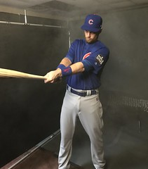 Ben Zobrist has his picture taken in the World Series photo studio. Shot on an iPhone 7 Plus. (apardavila) Tags: postseason wordseries baseball chicagocubs iphone7plus majorleaguebaseball mlb progressivefield sports worldseries