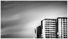 Apartment building in Brisbane (JakaPH Photography) Tags: living bright key high city cityscape street black white bw brisbane queensland australia building apartment clouds composition monochrome day daylight minimalism minimalist urban abstract architecture contrast