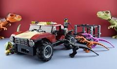 Lego 7296 : Dino 4WD Trapper (Alex THELEGOFAN) Tags: lego legography minifigures minifig minifigure minifigs minifigurine dino 2010 dinosaur trex 7296 4wd trapper mutant raptor lizard black pink orange car truck viper tool vest torso attack