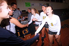 IMG_3475 (SJH Foto) Tags: girls volleyball high school lancaster mennonite elco eastern lebanon team tween teen east teenager varsity tamron 1024mm f3545 superwide lens pregame ceremonies ref referee captains coin toss coach handshake