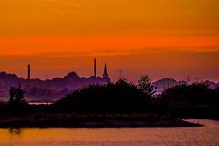 Autum is coming again (Hans Dethmers) Tags: flickr hansdethmers herfst autum landschap landscape maas meuse rivier river church kerk sunset zonsondergang water