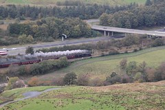 Stanier LMS Jubilee 6P5F No. 45960 'Leander' hauls WCR 1Z87 London Euston to Carlisle ' Cumbrian Coast Express'   running 10' late through the Lune Gorge in Cumbria on 15th October 2016  (steamdriver12) Tags: stanier lms jubilee 6p5f no 45960 leander hauls wcr west coast railway company 1z87 london euston carlisle cumbrian express running 10 minutes late lune gorge cumbria 15th october 2016 smoke steam locomotive oil coal heritage preservation main line autumn overcast powson knott howgill hills
