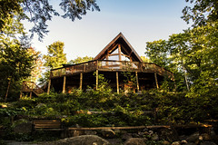 Holiday cottage (mystero233) Tags: canada muskoka ontario america north lakes lake cottage building house hughe wooden wood forrest forest lush green sky blue trees tree