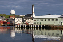 Globus II Radome, Vardø Church, and Vardø Harbour (1) (Phil Masters) Tags: 19thjuly july2016 norwayholiday norway vardo vardø vardøchurch vardochurch globus globusii globusradar globusiiradar globusradome globusiiradome radome radar reflections vardøharbour vardoharbour