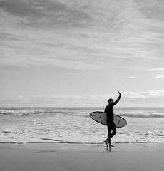 Morning (Colin_Bates) Tags: beach surf surfer surfboard rolleiflex film bw ilford hp5