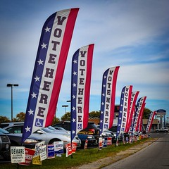 Just Do It! (tim.perdue) Tags: instagramapp square squareformat iphoneography uploaded:by=instagram vote here board elections franklin county columbus ohio sign flag banner red white blue