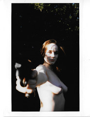 Brooke Eva : Polaroid iii (BBWFILM) Tags: colour film nature forest nude polaroid photography woods eva gun bbw brooke scan pistol revolver colt sooc