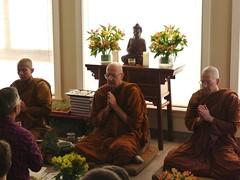 Monastics chant blessings. L to R: Ven. Suvijjano, Luang Por Viradhammo, Ven. Cunda