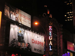 Chappie Billboard movie poster near Regal Theater Robot 4248 (Brechtbug) Tags: street new york city nyc fiction red film movie poster gold robot scary theater theatre near cities science billboard lobby scifi horror billboards monsters explosions android regal chappie 42nd 2015 standee 01202015