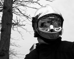 Pompier / Firesoldier (1) (Solylock) Tags: portrait novembre toulouse reflexion arbre barrage pompier manifestation homme allee tuyau intervention casque 2014 fume jeanjaures sivens