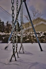 Deserted Swings (evanlochem) Tags: new winter snow canada storm suburban buried deep brunswick pack record february snowfall heavy blizzard drifts banks maritimes rothesay