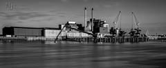 Sweet Tooth (Nigel Jones QGPP) Tags: longexposure chimney bw industry water thames river factory sweet crane jetty smoke smooth steam sugar barrier tatelyle nd110