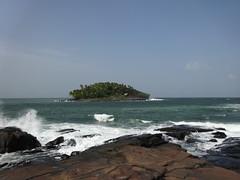 Rocks Spraying water and Devil's Island French Guiana