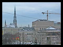 Winter afternoon in Riga, capital city of Latvia. January 26, 2015 (Vadiroma) Tags: city winter snow buildings europe capital towers churches baltic latvia spire roofs oldtown riga rga latvija 2015