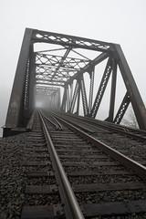 Rails Skewed (fotostevia) Tags: fog river foggy bridges lewisriver pentaxart sigma1770mmf284dcmacrohsmcontemporary
