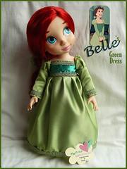 Belle Green Dress (Martysakuracat) Tags: blue green film ariel beauty store shoes doll hand dress princess little ooak cartoon disney queen made belle beast mermaid custom martina animator animators sakuracat martysakuracat