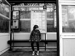 (sph wds) Tags: travel boy blackandwhite bw baby digital train children blackwhite kid waiting child olympus william trainstation digitalphotography olympuspenepl1