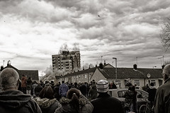 It's almost Down (Tim Glidden) Tags: street city uk light england sky people urban woman man building tower english clouds contrast wow concrete nikon streetlight estate crowd explosion demolition falling flats hull dust bang omg demolished explode blowup towerblock streetview controlled destroy eastyorkshire orchardpark nikond5100
