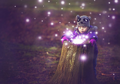 In the enchanted forest (Wojtek Piatek) Tags: portrait girl photoshop dof child bokeh magic balls sigma stump surprised glowing 28 shallow portret 70200 enchanted sump magia dziecko zeiss135 zaczarowany sonya99