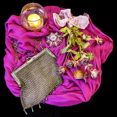 Still life in pink (sharon'soutlook) Tags: pink stilllife scarf candle brooch memories ribbon driedflowers driedroses vintagepurse meshpurse
