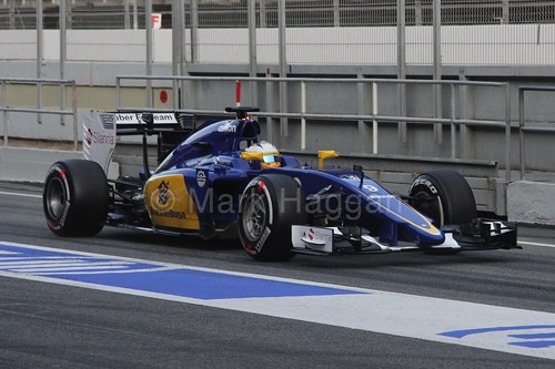 Marcus Ericsson in his Sauber in Formula One Winter Testing 2015