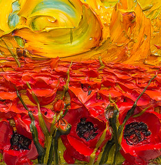 WF12X12-2016-152 (Justin Gaffrey) Tags: poppies poppyfield flowers wildflowers florals art painting artist justingaffrey acrylicpaint nature red gold 30aart 30a sowal florida floridaart