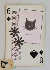 Black Cat 6 (Lydia's Post) Tags: apc alteredplayingcard playingcard paperart collage smallart cat catart blackandwhite