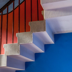 Steps (Martyn.A.Smith) Tags: steps bright colourful shapes bannister blue red white indoors angles canon 500d
