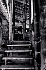 Stairs to Nowhere (Scosanf) Tags: colorado coloradotrails sanjuanmountains rockymountains indoor historic ghosttown mining abandoned forgotten decay weathered wood stairs travel trip vacation summer canon eos 6d ef2470mmf28lusm topazlabs blackandwhite monochrome bweffects mood contrast nostalgic lowlight