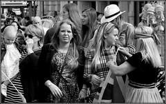 Spotted! (* RICHARD M (Over 5 million views)) Tags: street candid crowds mono blackwhite orangemensday thetwelfth 12thjuly southport sefton merseyside eyecontact headbands baby babies shades sunspecs sunglasses straw3hat flag unionflag unionjack streetseller streettrader streettrading semicandid hustleandbustle blondesandbrunettes
