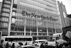 New York Times Corporation Library (3zeguet) Tags: paper giornale 8thave bw blackwhite biancoenero newyorkcity nytimes quotidiano usa nyt americandailynewspaper newspaper bus people