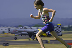 Race (swong95765) Tags: race girl kid running jet airplane runway fast